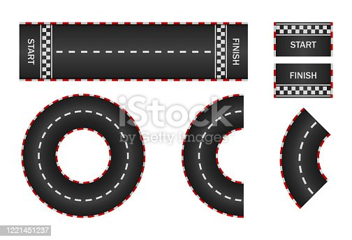 Infinity race. Track with start, finish and line on road. Curve and circle racetrack. f1 in street. Highway, asphalt, drift of car icon. 3d traffic background. Set of roadways for sport kart. Vector.