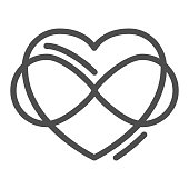 Infinity sign in heart shape line icon, free love concept, Love eternity sign on white background, Intertwined heart with infinity sign in outline style for mobile and web. Vector graphics