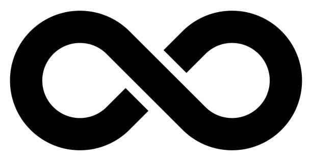 infinity symbol black - simple with discontinuation - isolated - vector - бесконечность stock illustrations