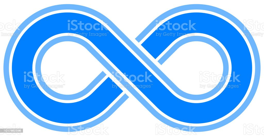 Infinity Symbol Blue Outlined With Discontinuation Isolated Vector