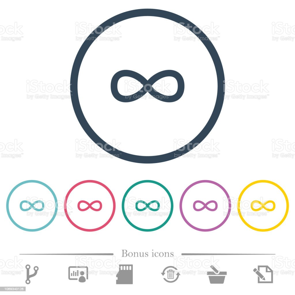 Infinity symbol flat color icons in round outlines