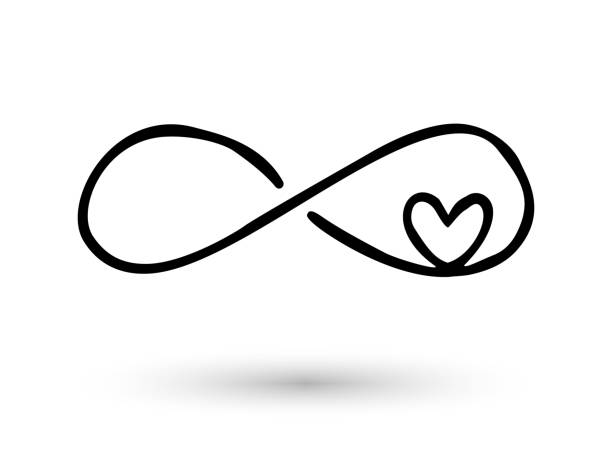Infinity symbol hand drawn with ink brush Infinity symbol with heart. Icon hand drawn with ink brush. Modern doodle with outline. Endless love, wedding, engagement concept. Graphic design element invitation, card, tattoo. Vector illustration eternity stock illustrations