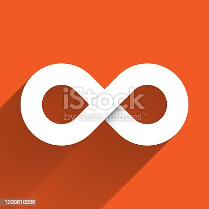 Infinity symbol icon. Concept of infinite, limitless and endless. Simple white vector design element with gradient long shadow isolated on orange background.