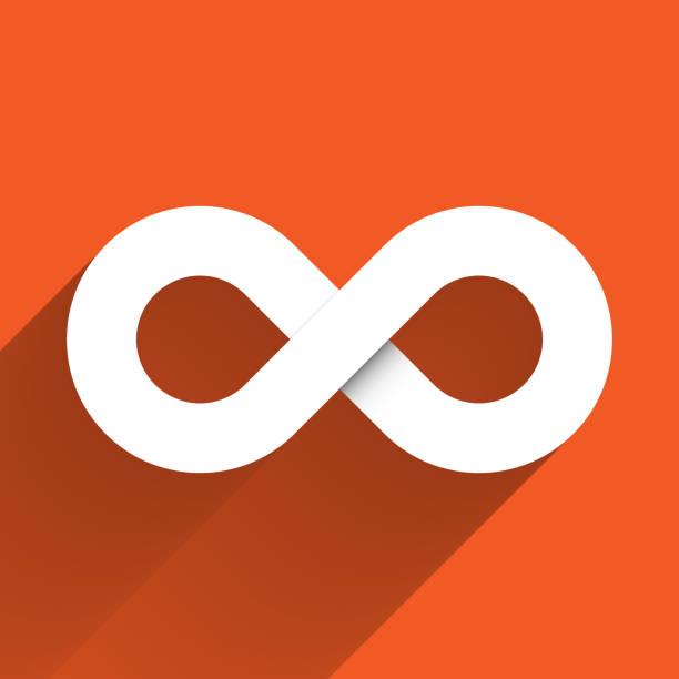 illustrations, cliparts, dessins animés et icônes de icône de symbole d'infini. concept d'infini, sans limites et sans fin. élément blanc simple de conception de vecteur avec l'ombre longue de gradient d'isolement sur le fond orange - infini