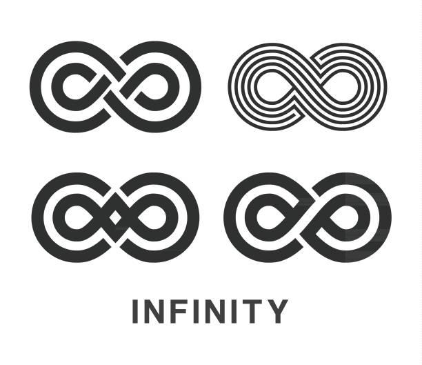 Infinity Symbol Icons Set vector art illustration
