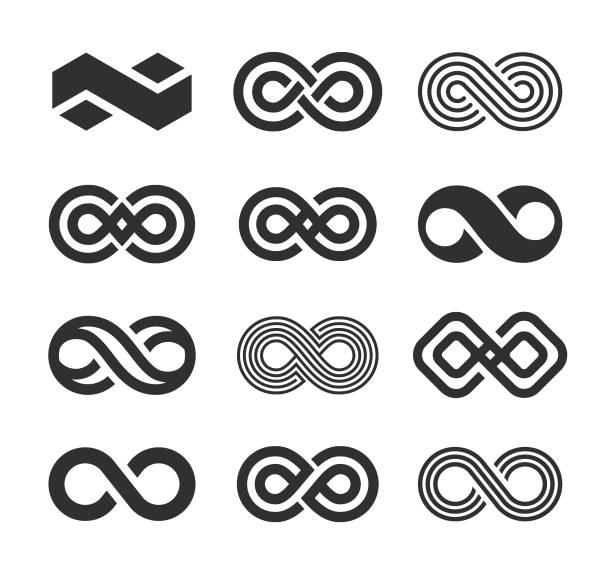 illustrations, cliparts, dessins animés et icônes de icônes de symbole infini ensemble - infini