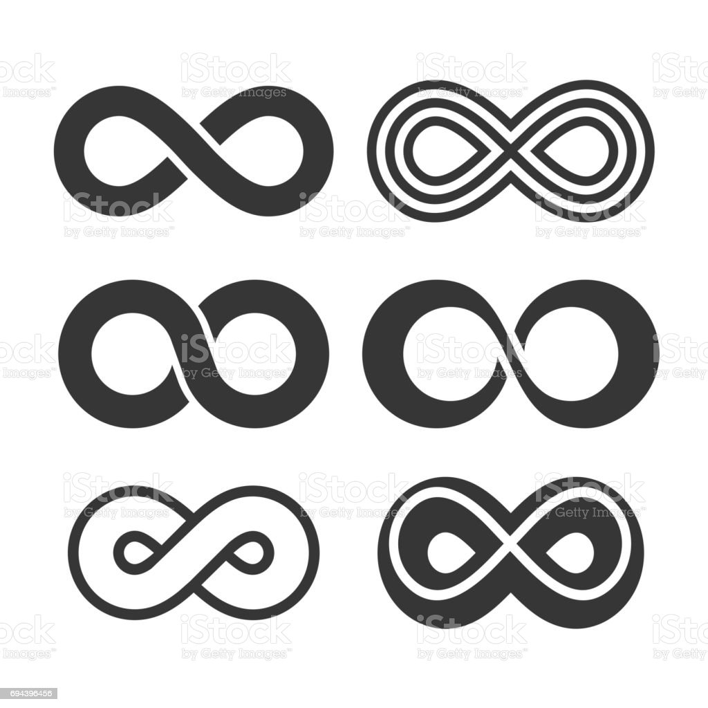 Infinity Symbol Icons Set. Vector vector art illustration