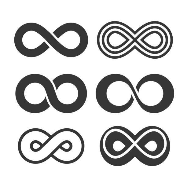 infinity symbol icons set. vector - бесконечность stock illustrations