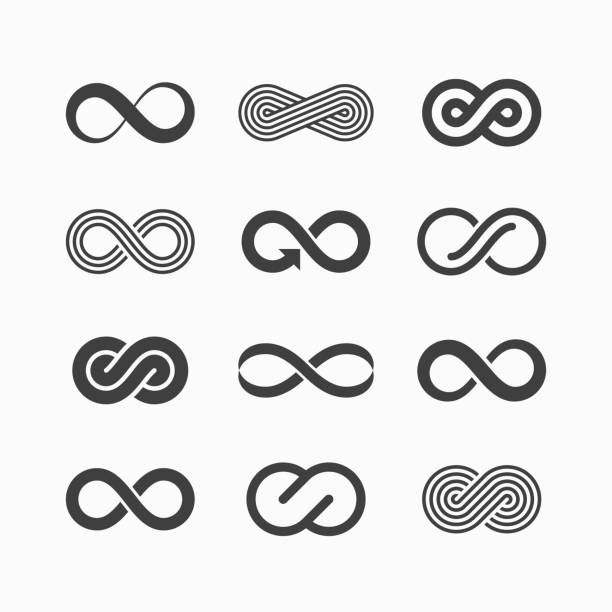 Infinity symbol icons Vector illustration with transparent effect, eps 10. eternity stock illustrations