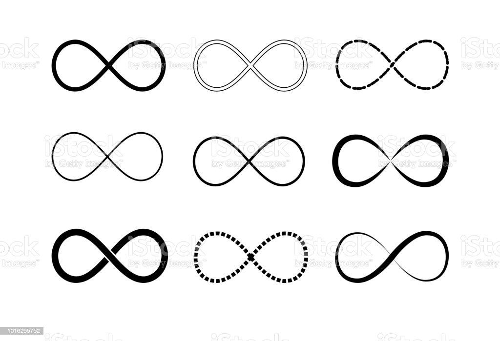 Infinity Symbol Logos Set Black Contours Symbol Of Repetition And