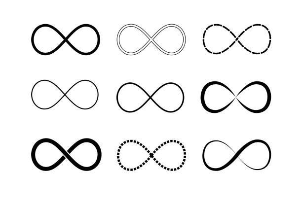 Infinity symbol logos set. Black contours. Symbol of repetition and unlimited cyclicity. Vector illustration isolated on white background. Infinity symbol logos set. Black contours. Symbol of repetition and unlimited cyclicity. Vector illustration isolated on white background eternity stock illustrations