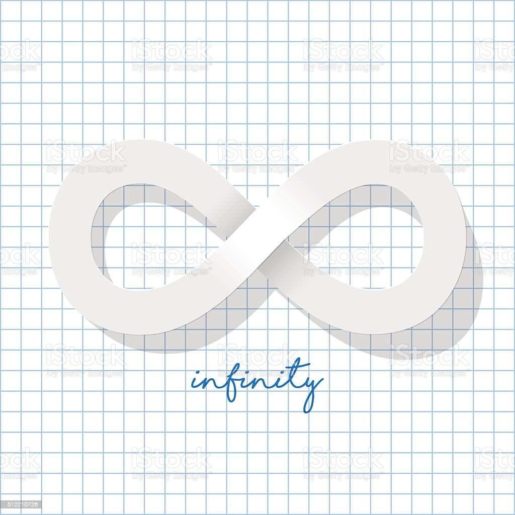 Infinity Symbol White On A Checkered Paper Background Stock Vector