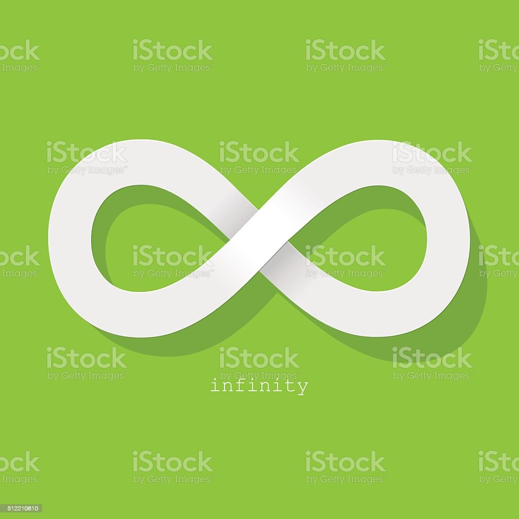 Infinity Symbol White On A Green Background Stock Vector Art More