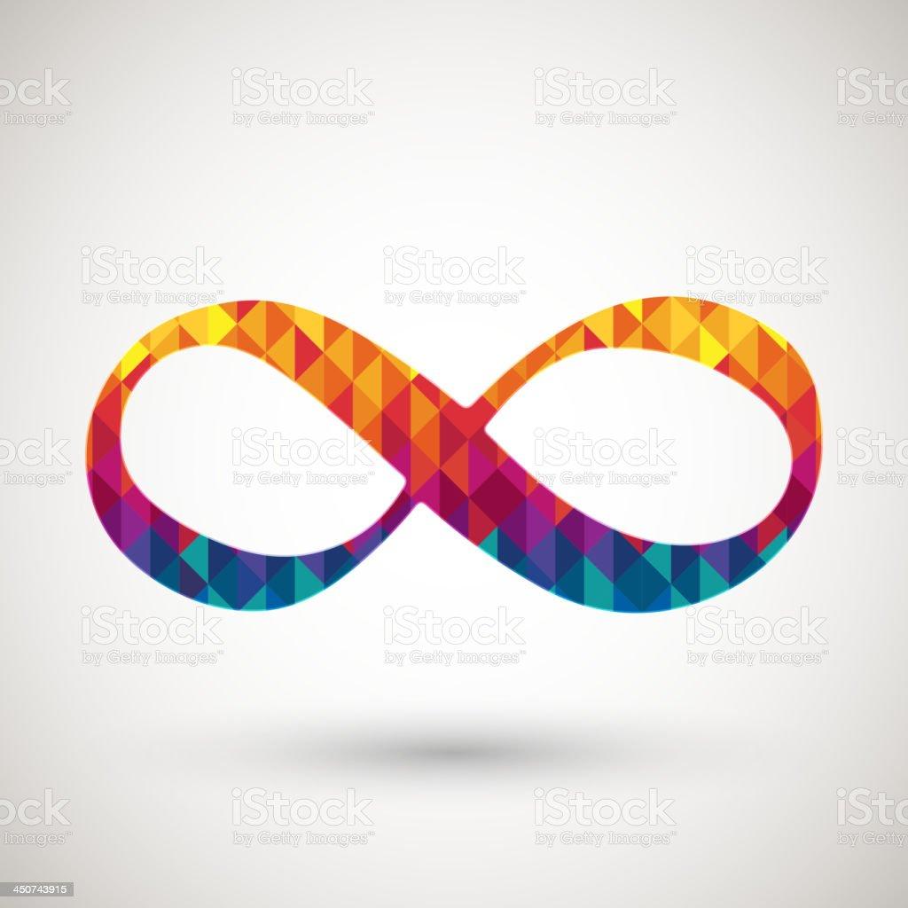 infinity symbol with colorful diamond vector art illustration