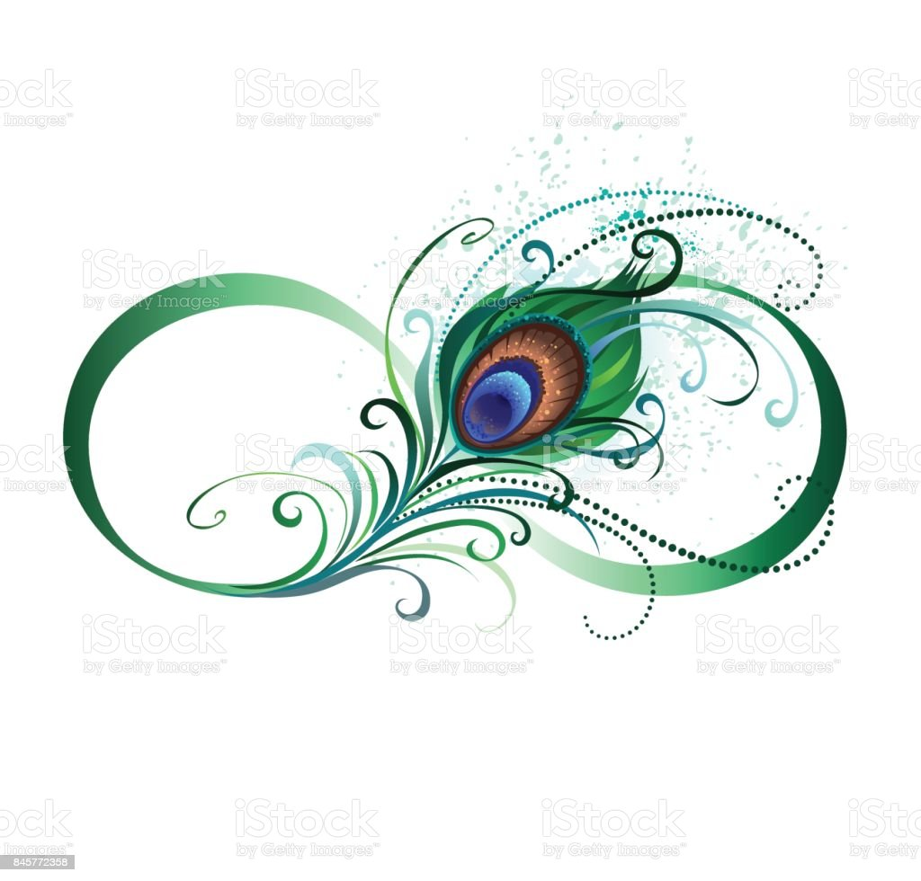 Infinity symbol with peacock feather stock vector art for Sfondi infinity