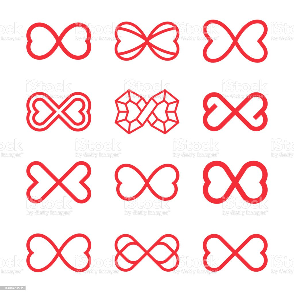 Infinity Symbol With Two Hearts Endless Love Stock Vector Art More