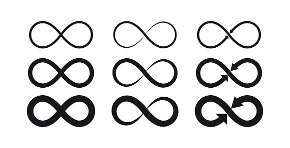 Vector illustration flat design of infinity symbols. Eternal, limitless, endless, life logo or tattoo concept.