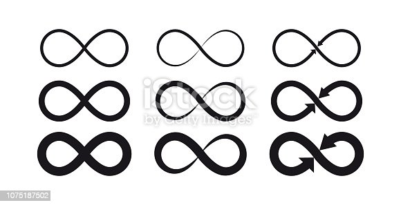 Vector illustration flat design of infinity symbols. Eternal, limitless, endless, life logo or tattoo concept.