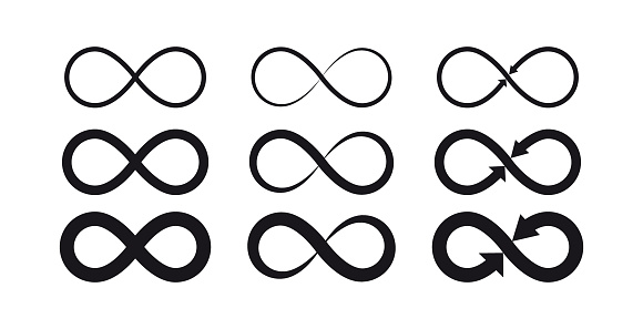 Infinity symbols. Eternal, limitless, endless, life logo or tattoo concept. clipart