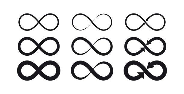 무한대 기호입니다. 영원한, 무한 한, 끝 없는, 생활 로고 또는 문신 개념. - 상징 stock illustrations