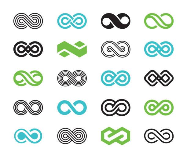 illustrations, cliparts, dessins animés et icônes de ensemble d'icônes de symboles d'infini - infini