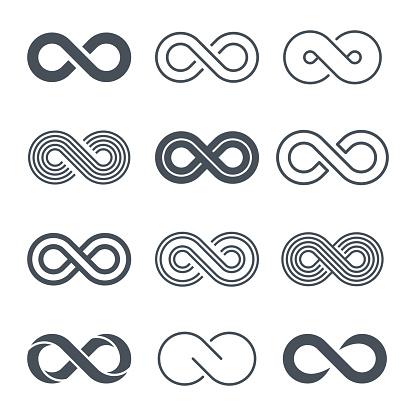 Infinity symbols icon set - vector clipart