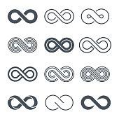 Infinity symbols icon set - vector