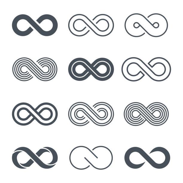무한대 기호 아이콘 세트-벡터 - 상징 stock illustrations