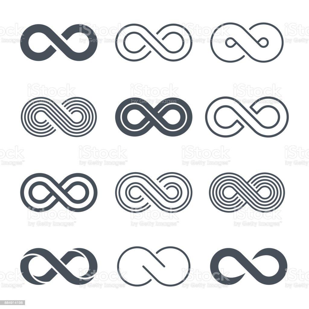 Infinity symbols icon set - vector vector art illustration