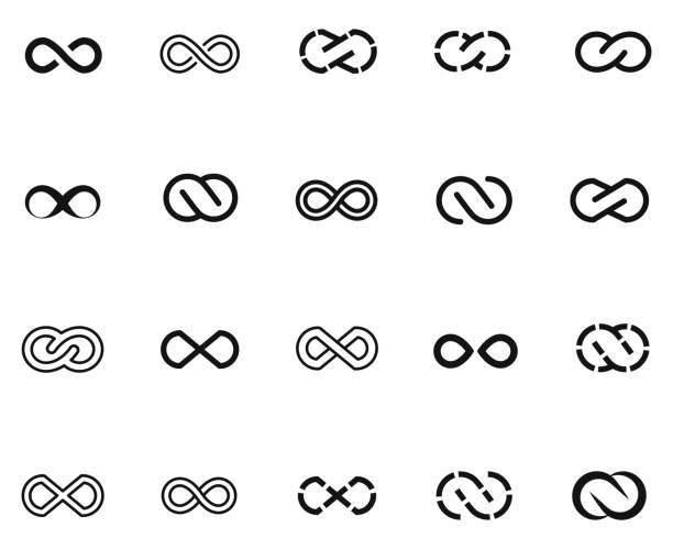 infinity symbols set - бесконечность stock illustrations