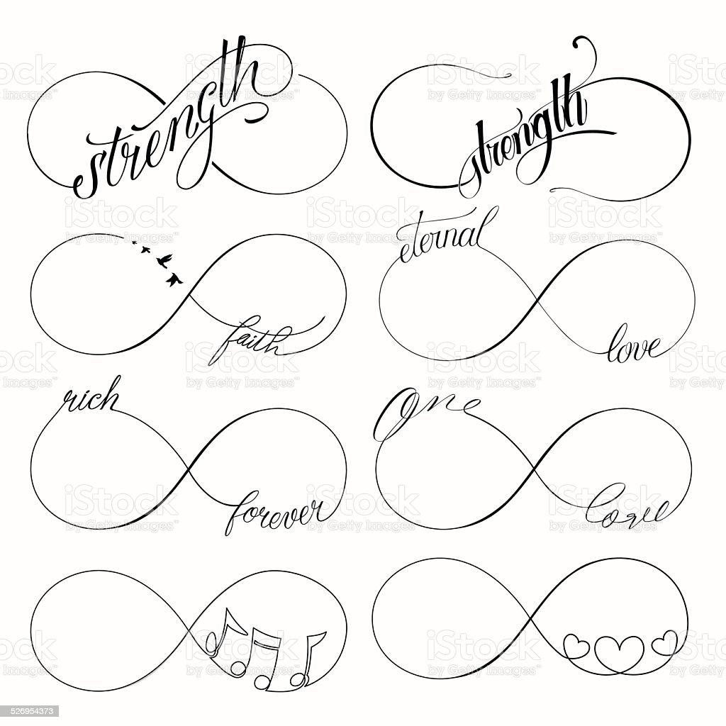 Infinity symbols set vector art illustration
