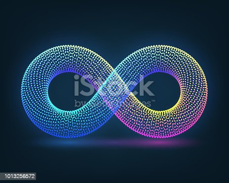Neon sign of infinity on a dark background