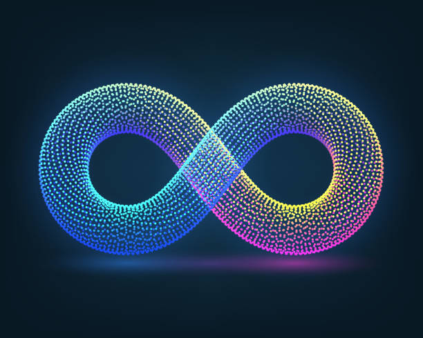 Infinity Neon sign of infinity on a dark background infinity stock illustrations