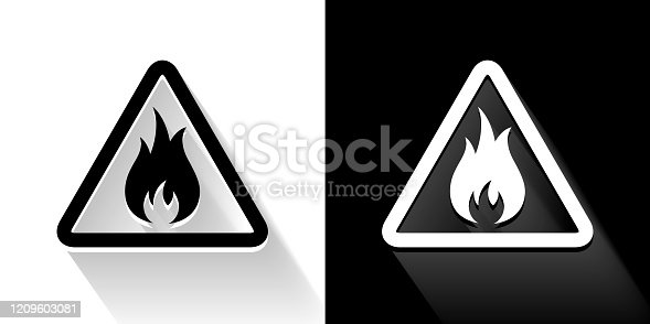 Inflammable  Black and White Icon with Long Shadow. This 100% royalty free vector illustration is featuring the square button and the main icon is depicted in black and in white with a black icon on it. It also has a long shadow to give the icons more depth.