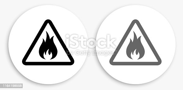 Inflammable Black and White Round Icon. This 100% royalty free vector illustration is featuring a round button with a drop shadow and the main icon is depicted in black and in grey for a roll-over effect.