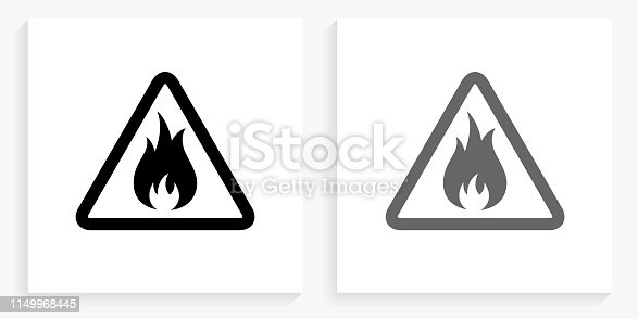 Inflammable Black and White Square Icon. This 100% royalty free vector illustration is featuring the square button with a drop shadow and the main icon is depicted in black and in grey for a roll-over effect.