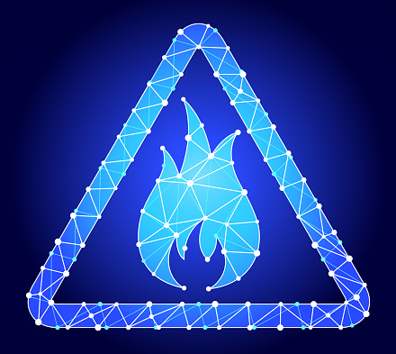 Inflammable  Blue Triangle Node Vector Pattern. The main object depicted in this royalty free vector illustration is created with the triangular line pattern. The individual lines form nodes with small circles on each of the vertices. The background is white with a slight gradient around the edges.