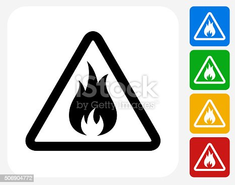 Inflammable Icon. This 100% royalty free vector illustration features the main icon pictured in black inside a white square. The alternative color options in blue, green, yellow and red are on the right of the icon and are arranged in a vertical column.