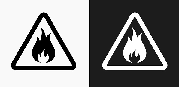 Inflammable Icon on Black and White Vector Backgrounds. This vector illustration includes two variations of the icon one in black on a light background on the left and another version in white on a dark background positioned on the right. The vector icon is simple yet elegant and can be used in a variety of ways including website or mobile application icon. This royalty free image is 100% vector based and all design elements can be scaled to any size.