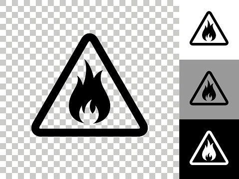 Inflammable Icon on Checkerboard Transparent Background. This 100% royalty free vector illustration is featuring the icon on a checkerboard pattern transparent background. There are 3 additional color variations on the right..