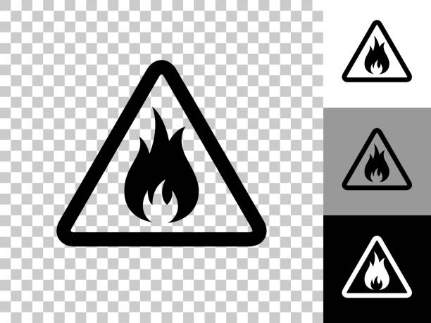 Inflammable Icon on Checkerboard Transparent Background vector art illustration