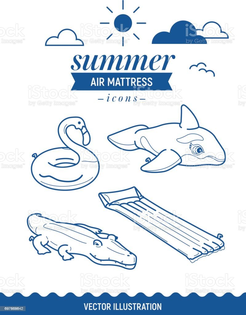 Inflatable air mattress icon set. Summer outline icons with clouds and sun. Whale, crocodile, flamingo and basic retro simple mattress vector art illustration