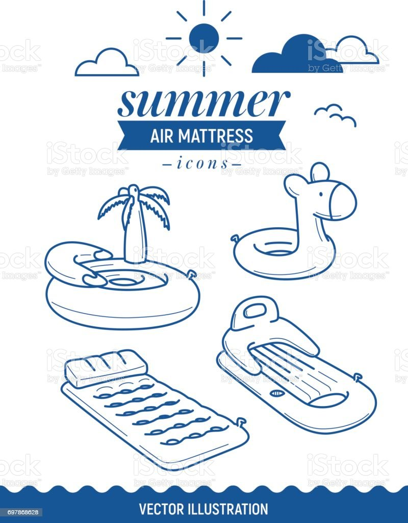 Inflatable air mattress icon. Summer outline icon set with clouds. Palm tree, island and basic retro simple mattress vector art illustration