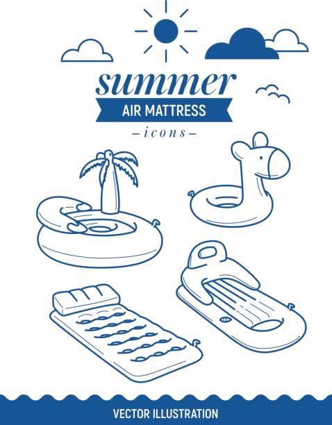 ilustrações de stock, clip art, desenhos animados e ícones de inflatable air mattress icon. summer outline icon set with clouds. palm tree, island and basic retro simple mattress - brinquedos na piscina