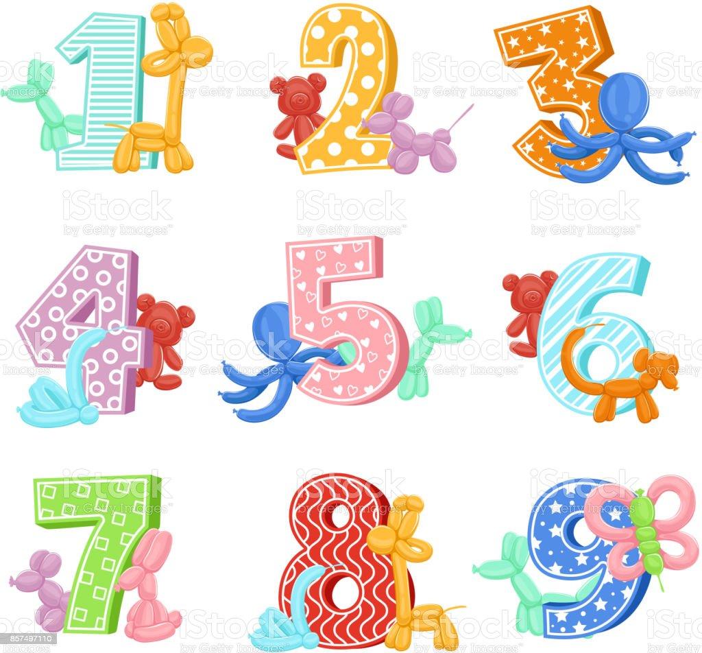 Ilustración de Animales Inflables Con Números De Cumpleaños ...