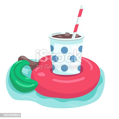 istock Inflatable apple cartoon vector illustration. Iced americano in disposable cup. Fun air mattress. Soda in rubber drink holder flat color object. Pool party item isolated on white background 1302658654