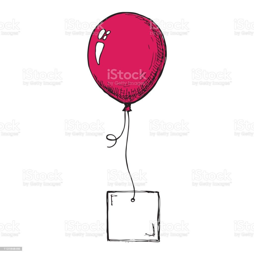 Ballons Gonflables Avec Une Carte Pour Le Texte Dessin Vecteurs