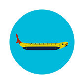 Inflatable Boat Banana Icon. Vector Illustration of Sea Transport.