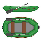 Inflatable boat with oars top and side view on a white background.