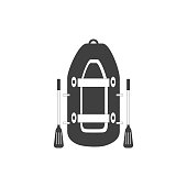 Inflatable boat with  with oars  isolated on white background. Rubber boat.  Vector Illustration in flat style.
